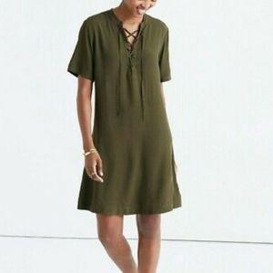 Madewell Novella Lace Up V-neck Green Dress